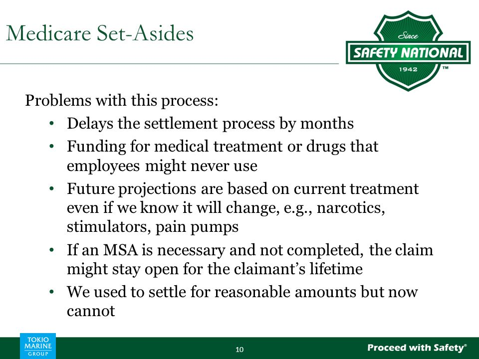 Problems with this process: Delays the settlement process by months Funding for medical treatment or drugs that employees might never use Future proje