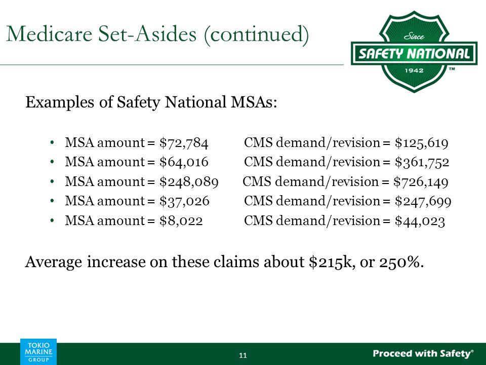 Examples of Safety National MSAs: MSA amount = $72,784CMS demand/revision = $125,619 MSA amount = $64,016CMS demand/revision = $361,752 MSA amount = $
