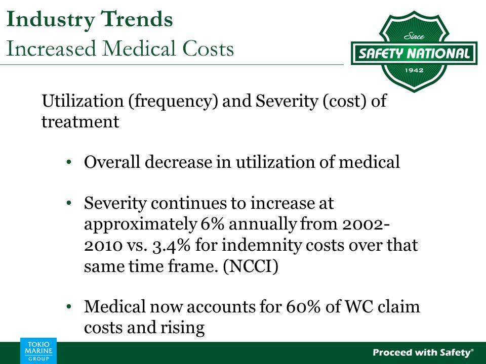 Industry Trends Increased Medical Costs Utilization (frequency) and Severity (cost) of treatment Overall decrease in utilization of medical Severity continues to increase at approximately 6% annually from 2002- 2010 vs.