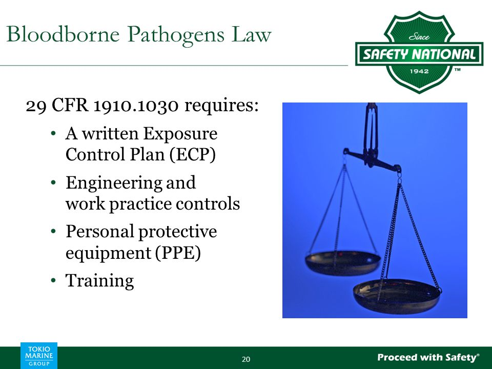29 CFR 1910.1030 requires: A written Exposure Control Plan (ECP) Engineering and work practice controls Personal protective equipment (PPE) Training 2