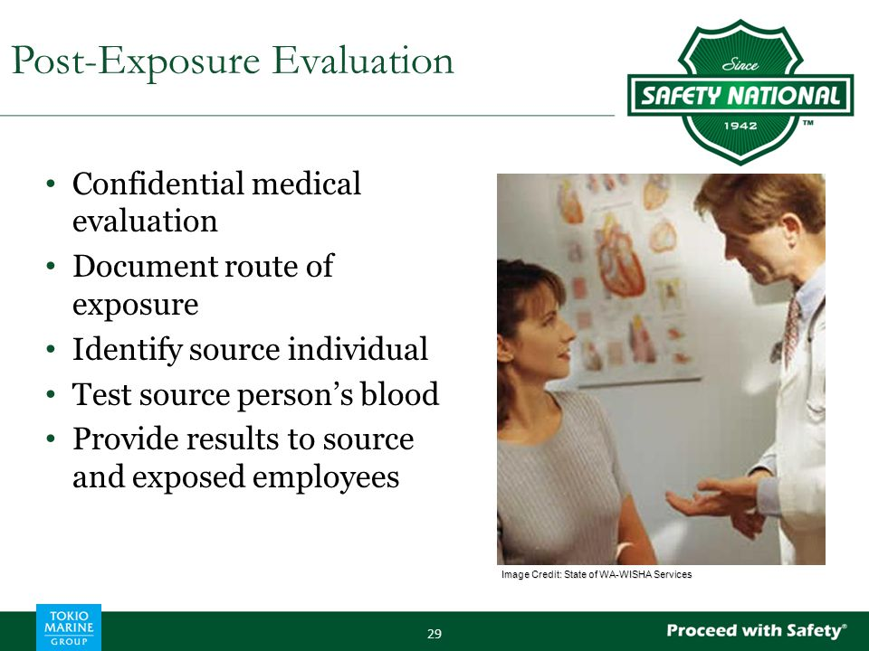 Confidential medical evaluation Document route of exposure Identify source individual Test source person's blood Provide results to source and exposed employees 29 Post-Exposure Evaluation Image Credit: State of WA-WISHA Services