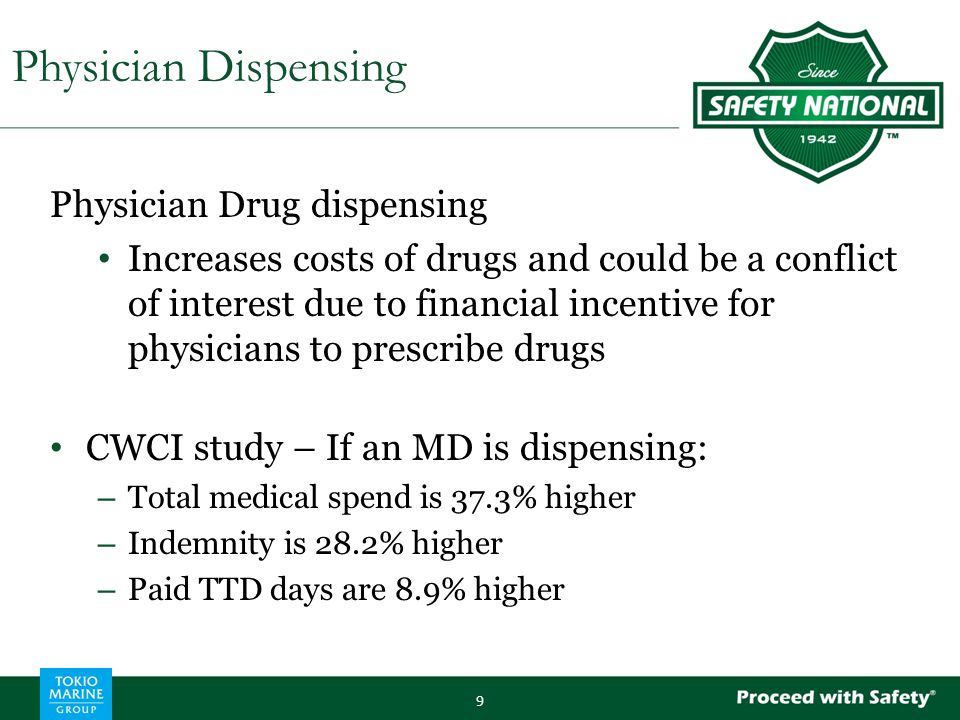 Physician Drug dispensing Increases costs of drugs and could be a conflict of interest due to financial incentive for physicians to prescribe drugs CWCI study – If an MD is dispensing: – Total medical spend is 37.3% higher – Indemnity is 28.2% higher – Paid TTD days are 8.9% higher 9 Physician Dispensing