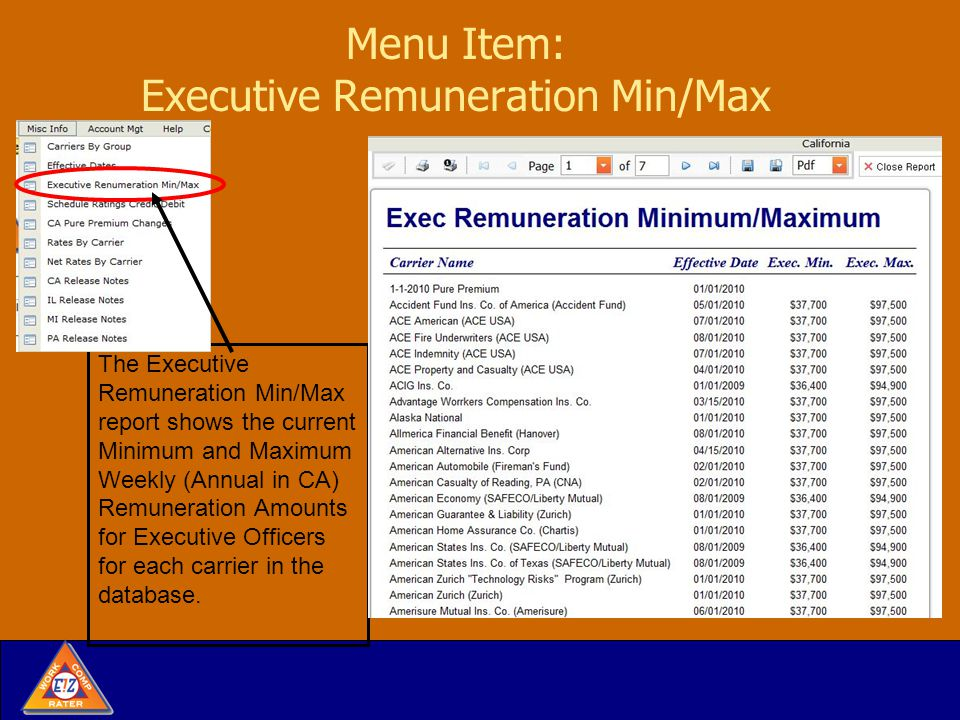 Menu Item: Executive Remuneration Min/Max The Executive Remuneration Min/Max report shows the current Minimum and Maximum Weekly (Annual in CA) Remuneration Amounts for Executive Officers for each carrier in the database.