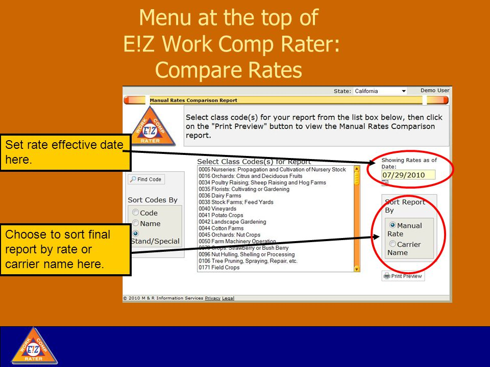 Menu at the top of E!Z Work Comp Rater: Compare Rates Set rate effective date here.