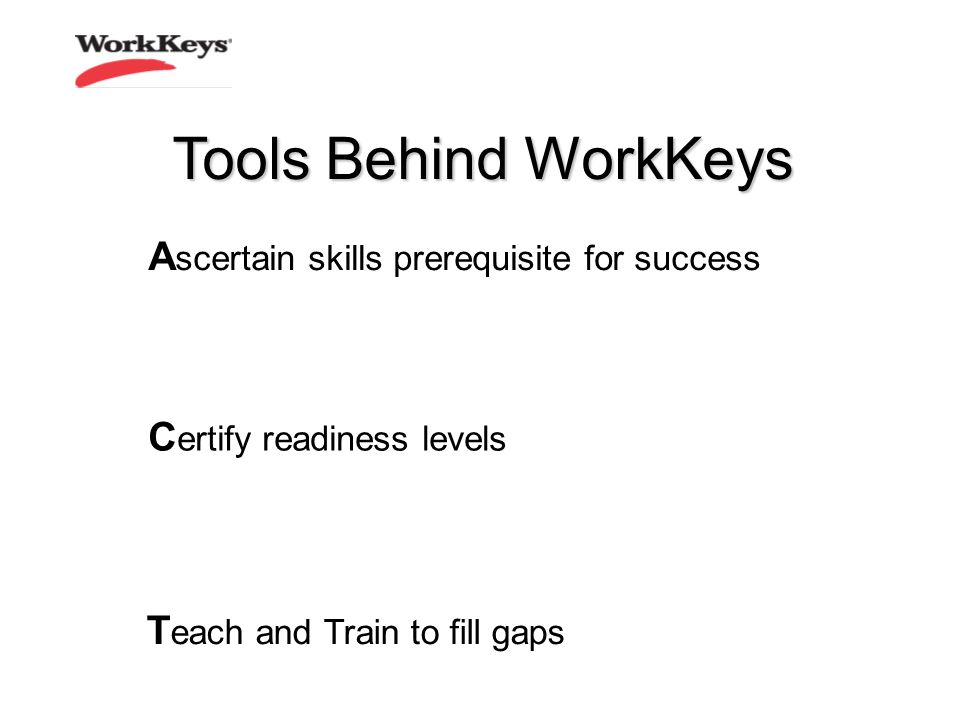 C ertify readiness levels Tools Behind WorkKeys T each and Train to fill gaps A scertain skills prerequisite for success
