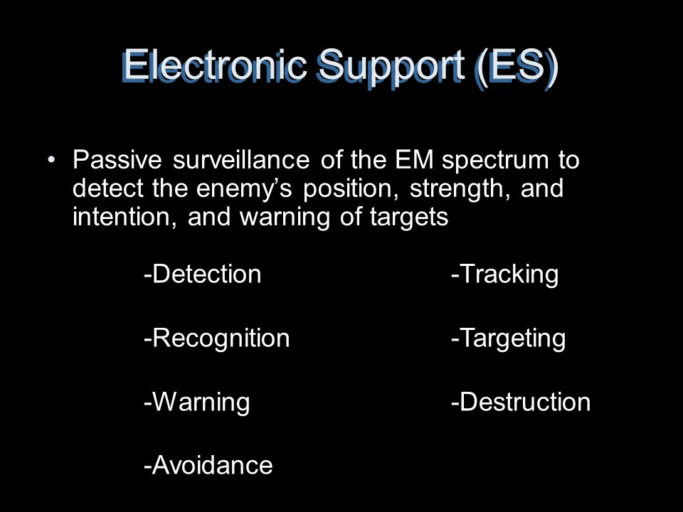 Electronic Support (ES) Passive surveillance of the EM spectrum to detect the enemy's position, strength, and intention, and warning of targets -Detec
