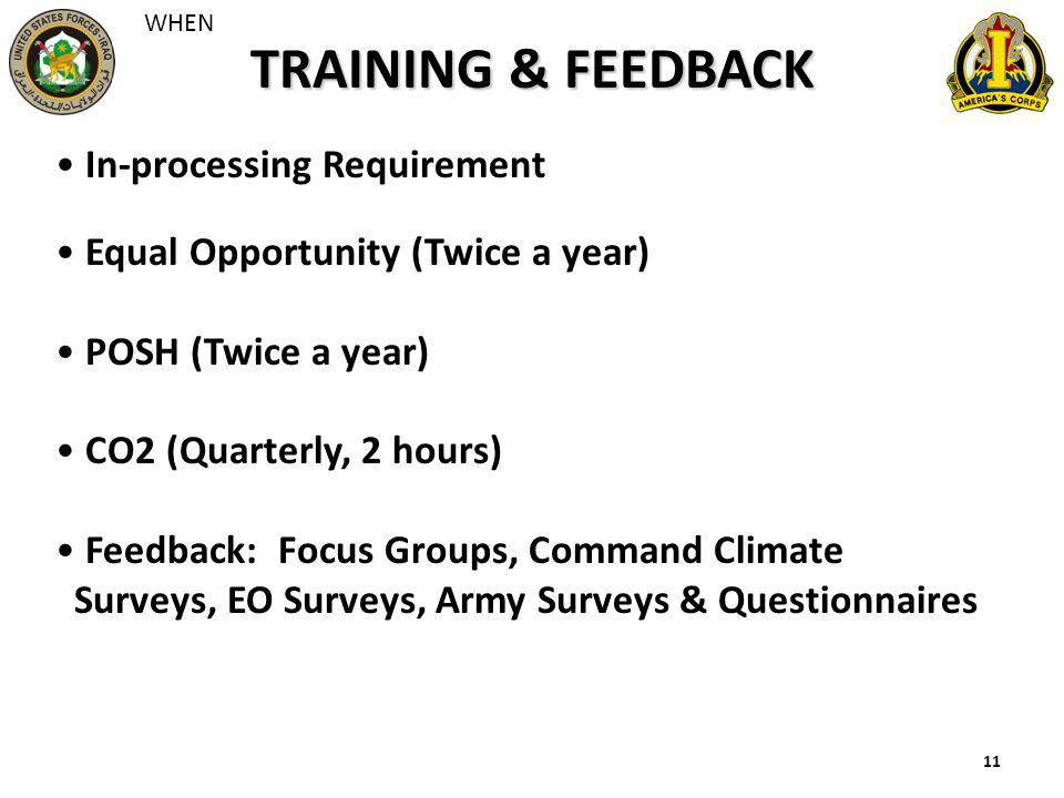 11 TRAINING & FEEDBACK In-processing Requirement Equal Opportunity (Twice a year) POSH (Twice a year) CO2 (Quarterly, 2 hours) Feedback: Focus Groups,