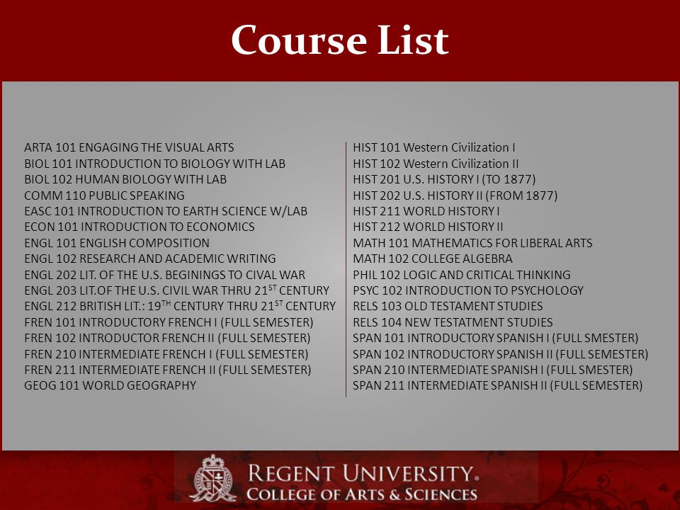 Course List ARTA 101 ENGAGING THE VISUAL ARTS BIOL 101 INTRODUCTION TO BIOLOGY WITH LAB BIOL 102 HUMAN BIOLOGY WITH LAB COMM 110 PUBLIC SPEAKING EASC 101 INTRODUCTION TO EARTH SCIENCE W/LAB ECON 101 INTRODUCTION TO ECONOMICS ENGL 101 ENGLISH COMPOSITION ENGL 102 RESEARCH AND ACADEMIC WRITING ENGL 202 LIT.