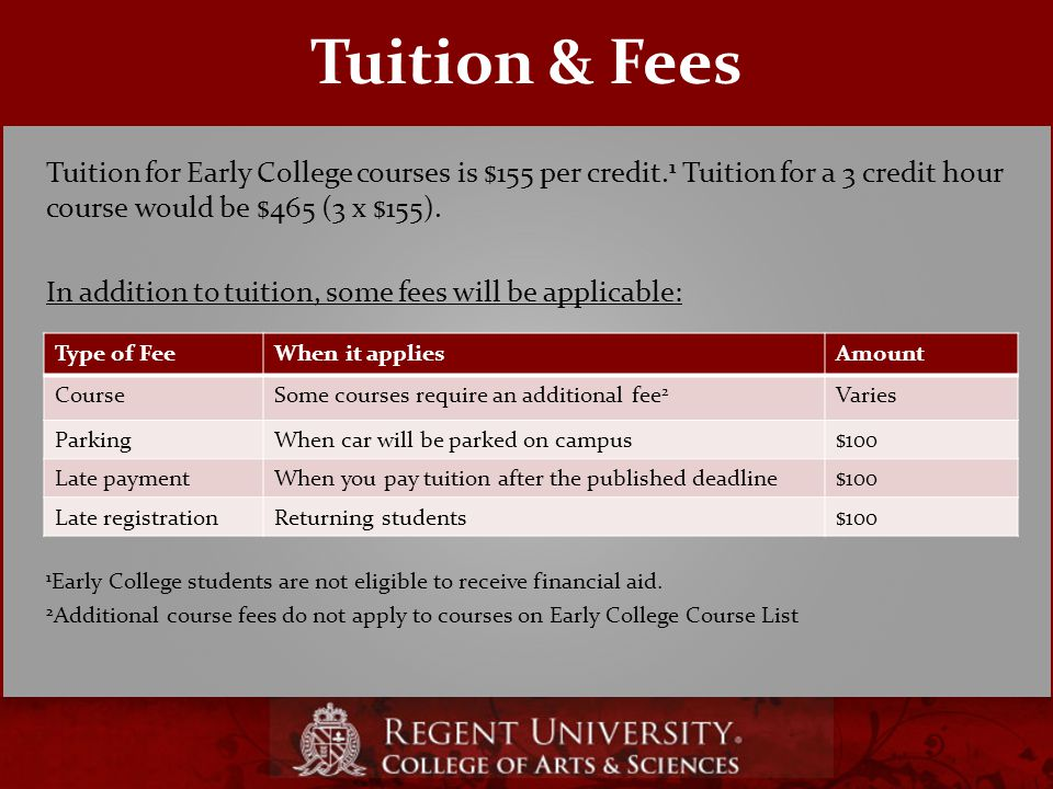Tuition for Early College courses is $155 per credit.