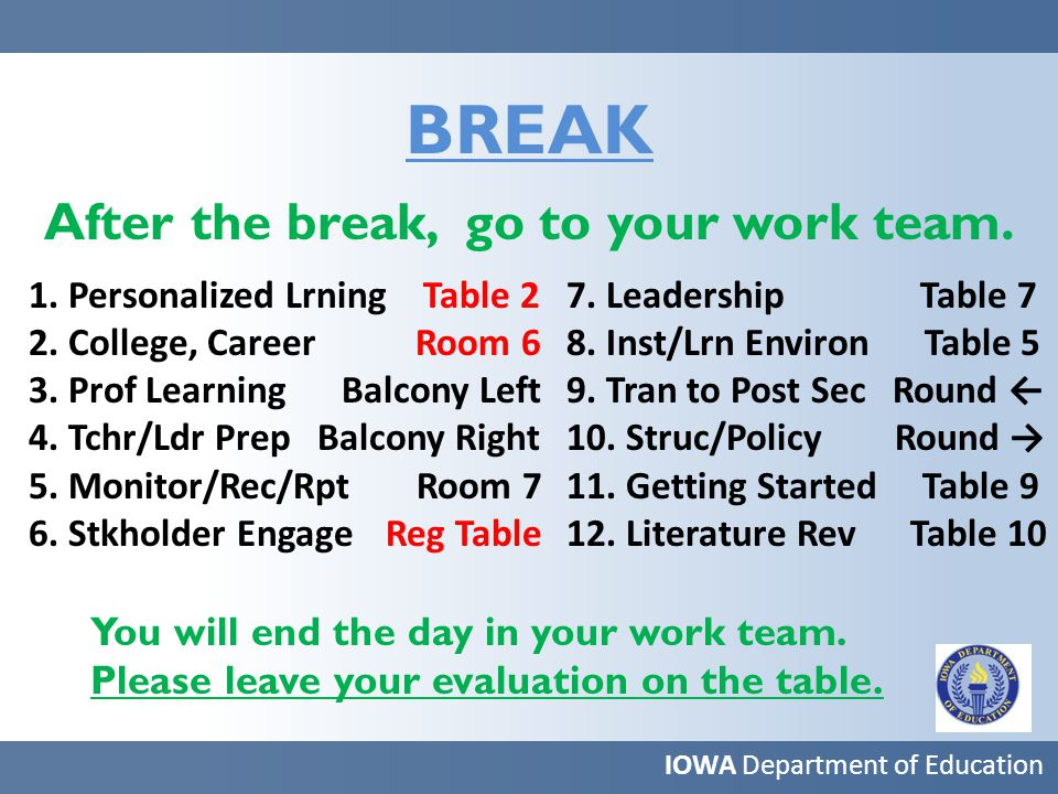 BREAK After the break, go to your work team. IOWA Department of Education 1.
