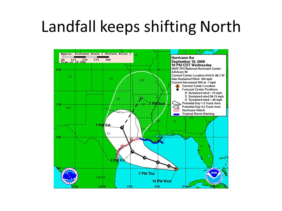 Landfall keeps shifting North