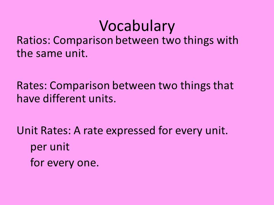 Vocabulary Ratios: Comparison between two things with the same unit.