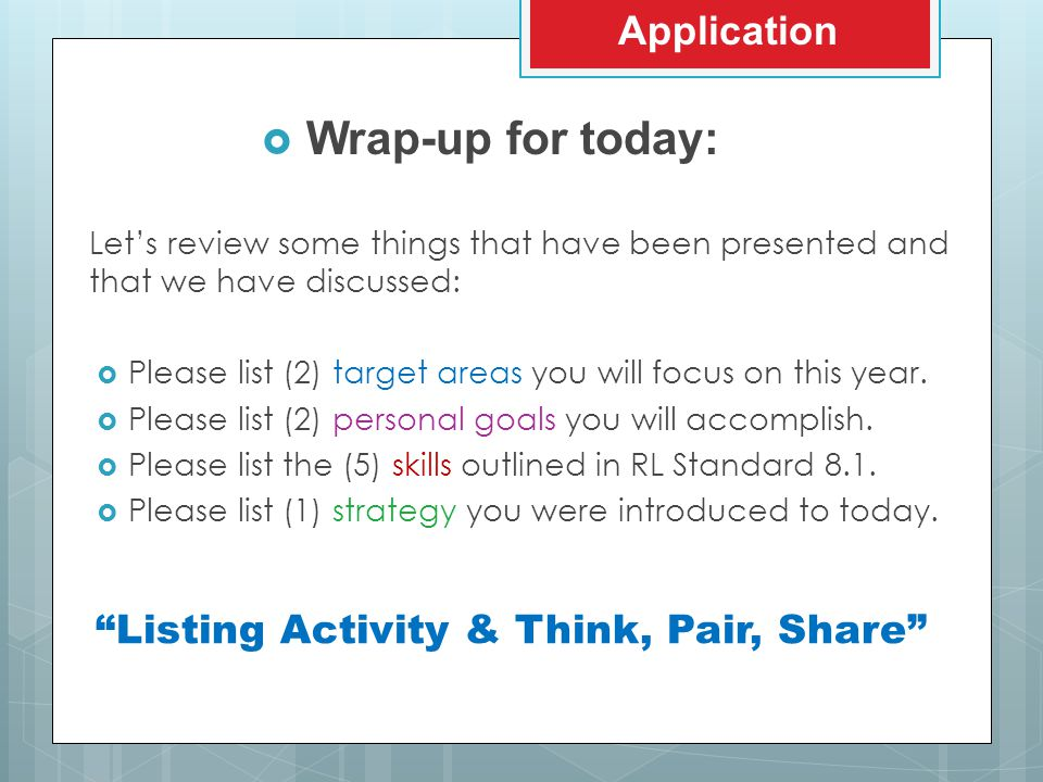  Wrap-up for today: Application Let's review some things that have been presented and that we have discussed:  Please list (2) target areas you will focus on this year.