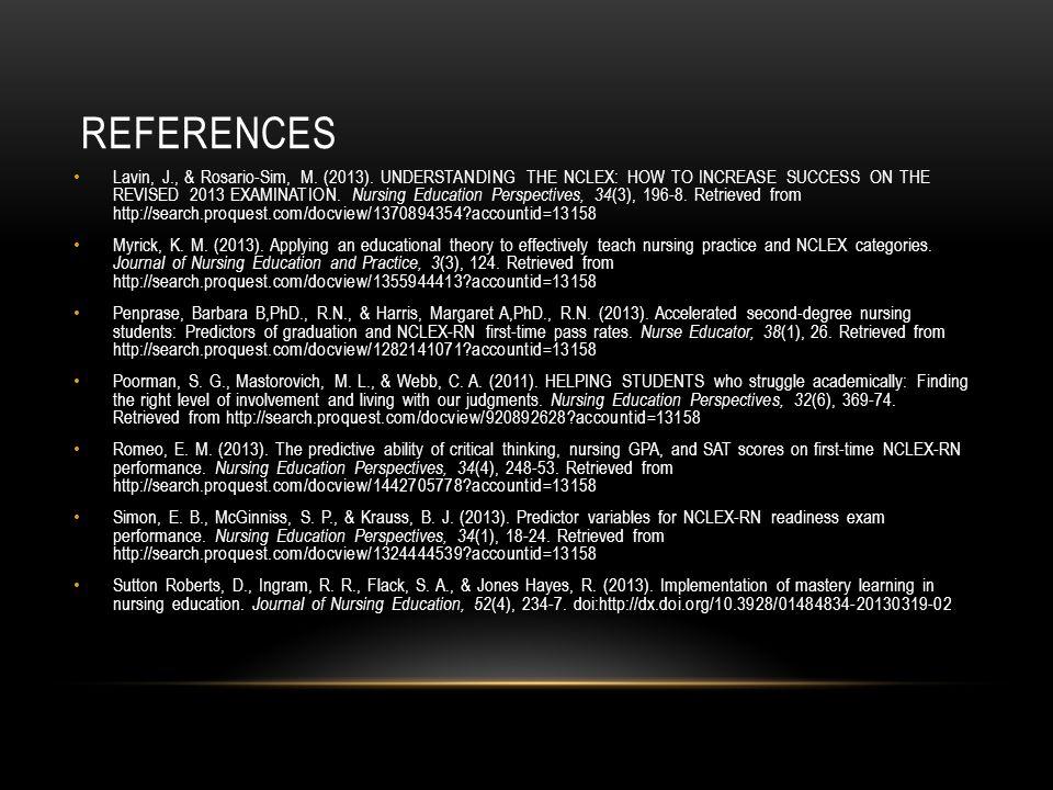 REFERENCES Lavin, J., & Rosario-Sim, M. (2013).
