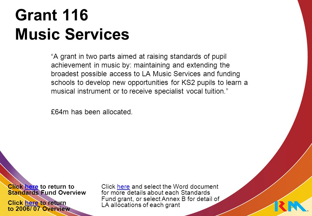 Grant 116 Music Services A grant in two parts aimed at raising standards of pupil achievement in music by: maintaining and extending the broadest possible access to LA Music Services and funding schools to develop new opportunities for KS2 pupils to learn a musical instrument or to receive specialist vocal tuition. £64m has been allocated.