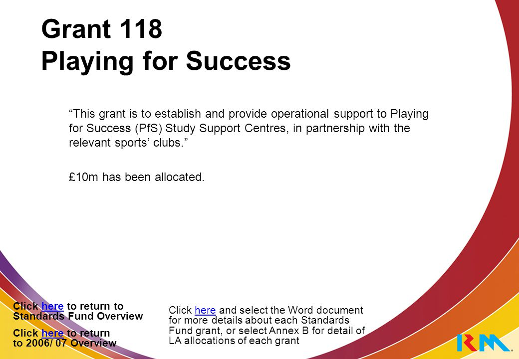 Grant 118 Playing for Success This grant is to establish and provide operational support to Playing for Success (PfS) Study Support Centres, in partnership with the relevant sports' clubs. £10m has been allocated.