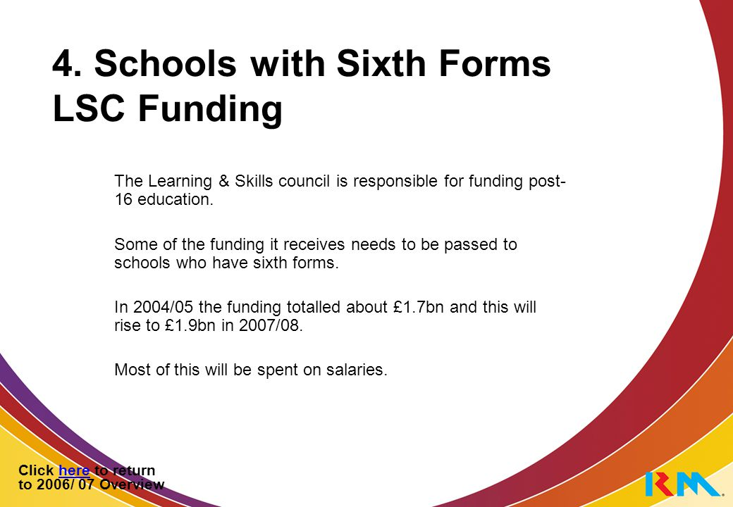 4. Schools with Sixth Forms LSC Funding The Learning & Skills council is responsible for funding post- 16 education. Some of the funding it receives n