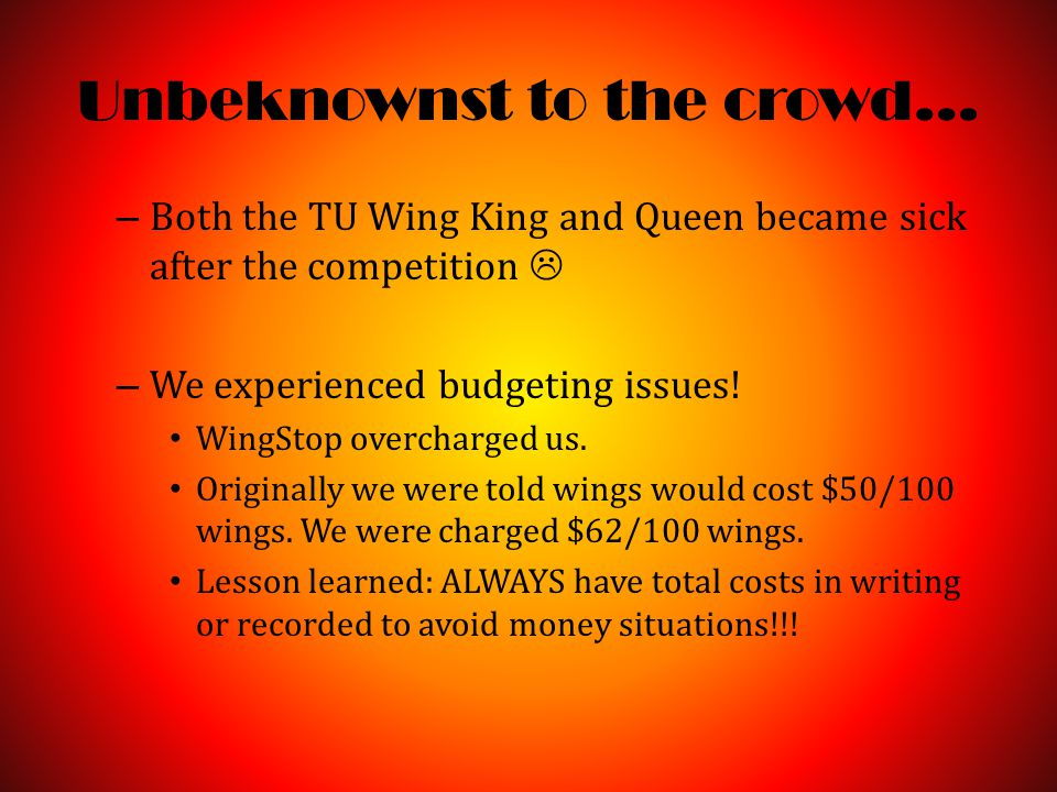 Unbeknownst to the crowd… – Both the TU Wing King and Queen became sick after the competition  – We experienced budgeting issues.