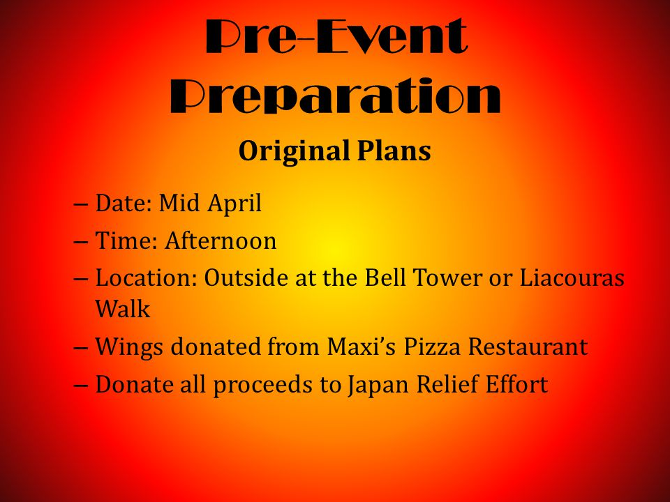 Pre-Event Preparation Original Plans – Date: Mid April – Time: Afternoon – Location: Outside at the Bell Tower or Liacouras Walk – Wings donated from Maxi's Pizza Restaurant – Donate all proceeds to Japan Relief Effort