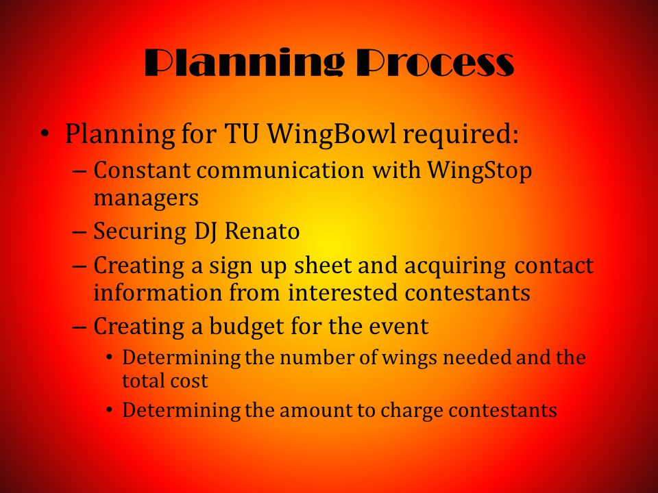 Planning Process Planning for TU WingBowl required: – Constant communication with WingStop managers – Securing DJ Renato – Creating a sign up sheet and acquiring contact information from interested contestants – Creating a budget for the event Determining the number of wings needed and the total cost Determining the amount to charge contestants