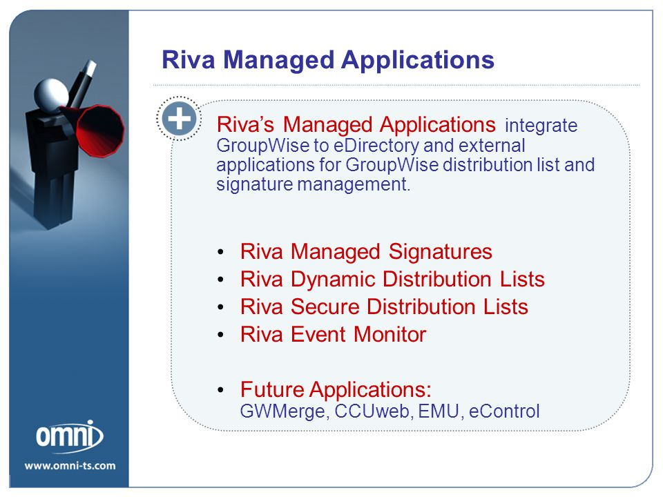 Riva Managed Signatures Riva Dynamic Distribution Lists Riva Secure Distribution Lists Riva Event Monitor Future Applications: GWMerge, CCUweb, EMU, eControl Riva Managed Applications Riva's Managed Applications integrate GroupWise to eDirectory and external applications for GroupWise distribution list and signature management.
