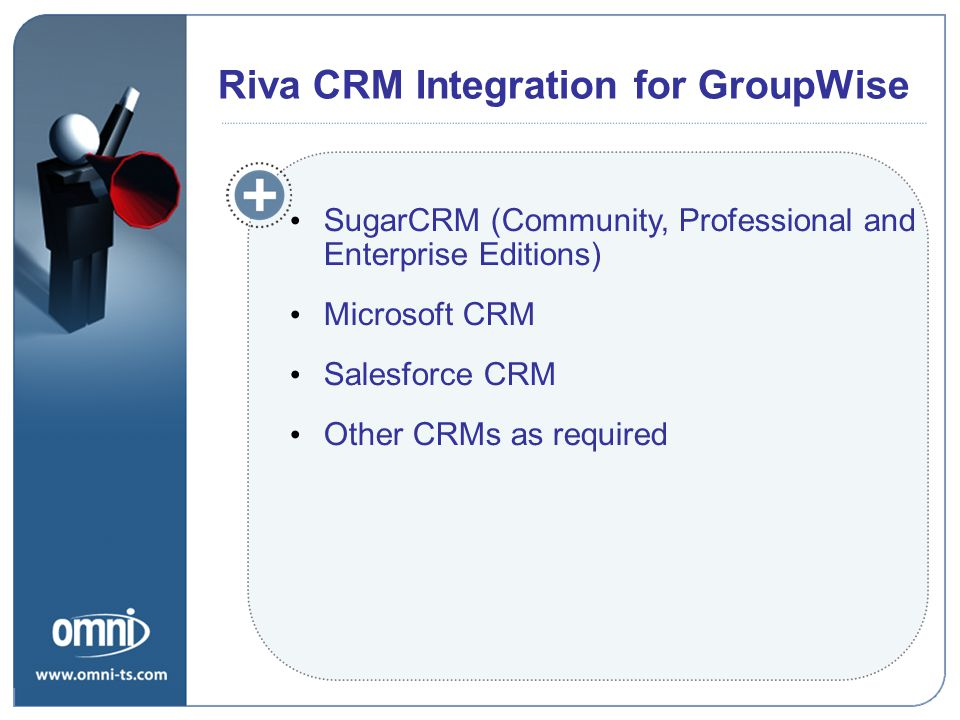 Riva CRM Integration for GroupWise SugarCRM (Community, Professional and Enterprise Editions) Microsoft CRM Salesforce CRM Other CRMs as required Riva
