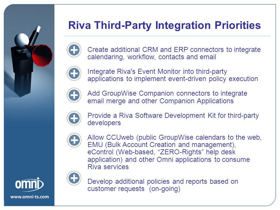 Riva Third-Party Integration Priorities Create additional CRM and ERP connectors to integrate calendaring, workflow, contacts and email Integrate Riva s Event Monitor into third-party applications to implement event-driven policy execution Add GroupWise Companion connectors to integrate email merge and other Companion Applications Provide a Riva Software Development Kit for third-party developers Allow CCUweb (public GroupWise calendars to the web, EMU (Bulk Account Creation and management), eControl (Web-based, ZERO-Rights help desk application) and other Omni applications to consume Riva services Develop additional policies and reports based on customer requests (on-going) Riva Road Map Priorities