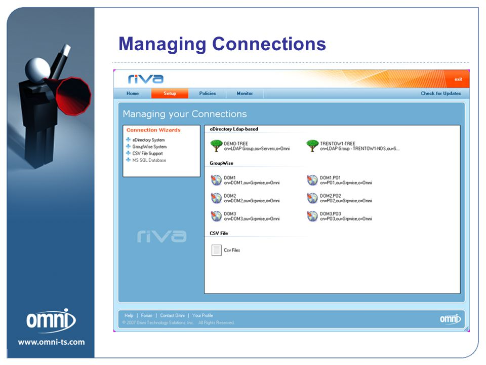Managing Connections Riva Road Map Priorities
