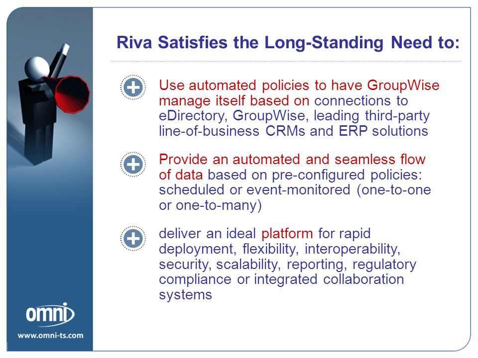 Use automated policies to have GroupWise manage itself based on connections to eDirectory, GroupWise, leading third-party line-of-business CRMs and ERP solutions Provide an automated and seamless flow of data based on pre-configured policies: scheduled or event-monitored (one-to-one or one-to-many) deliver an ideal platform for rapid deployment, flexibility, interoperability, security, scalability, reporting, regulatory compliance or integrated collaboration systems Riva Satisfies the Long-Standing Need to: What Needs Does Riva Satisfy