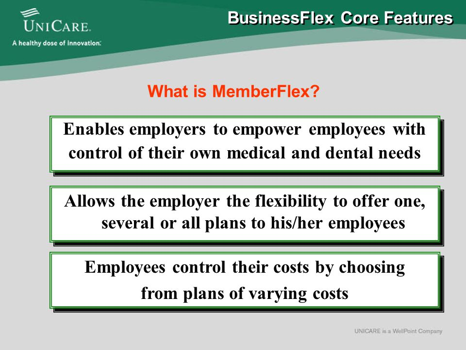 BusinessFlex Core Features Premium Only Plan (POP) Defined Contribution MemberFlex
