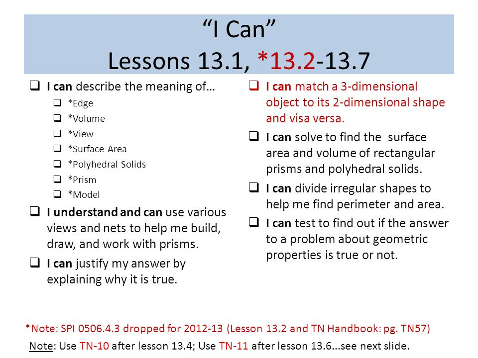 I Can Lessons 13.1, *13.2-13.7  I can describe the meaning of…  *Edge  *Volume  *View  *Surface Area  *Polyhedral Solids  *Prism  *Model  I understand and can use various views and nets to help me build, draw, and work with prisms.