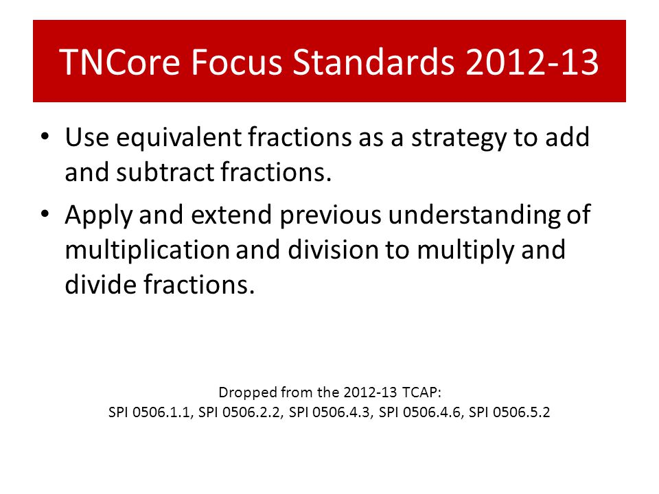 TNCore Focus Standards 2012-13 Use equivalent fractions as a strategy to add and subtract fractions.