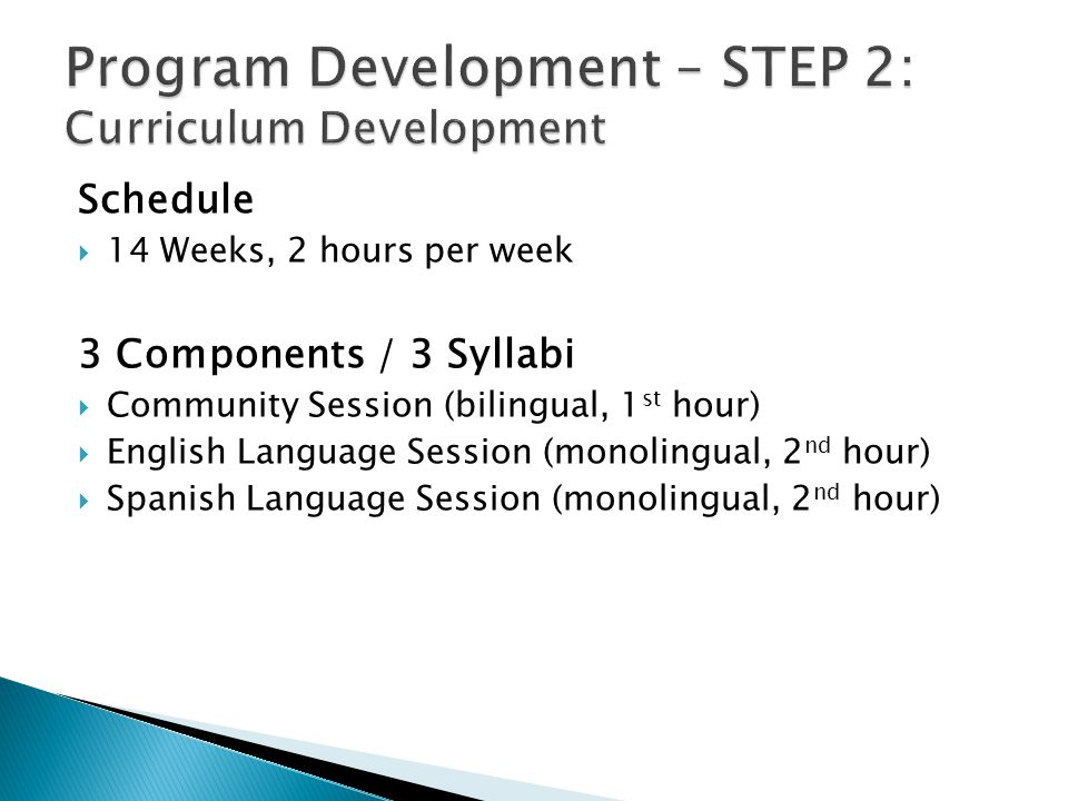 Schedule  14 Weeks, 2 hours per week 3 Components / 3 Syllabi  Community Session (bilingual, 1 st hour)  English Language Session (monolingual, 2 nd hour)  Spanish Language Session (monolingual, 2 nd hour)