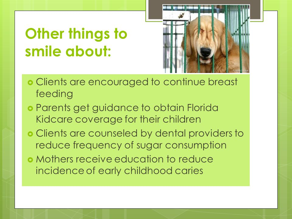 Other things to smile about:  Clients are encouraged to continue breast feeding  Parents get guidance to obtain Florida Kidcare coverage for their children  Clients are counseled by dental providers to reduce frequency of sugar consumption  Mothers receive education to reduce incidence of early childhood caries