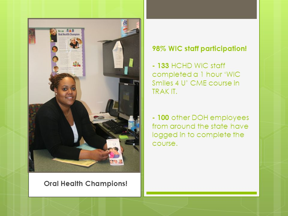 Best practices:  Online interactive children's dental health course for WIC  Dental 'event' calendar  Hosted Dinner and Learn training  Messaging