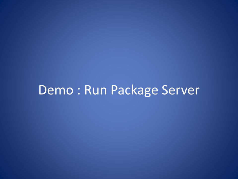 Demo : Run Package Server