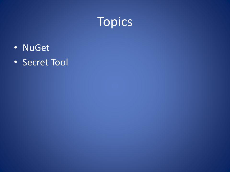 Topics NuGet Secret Tool