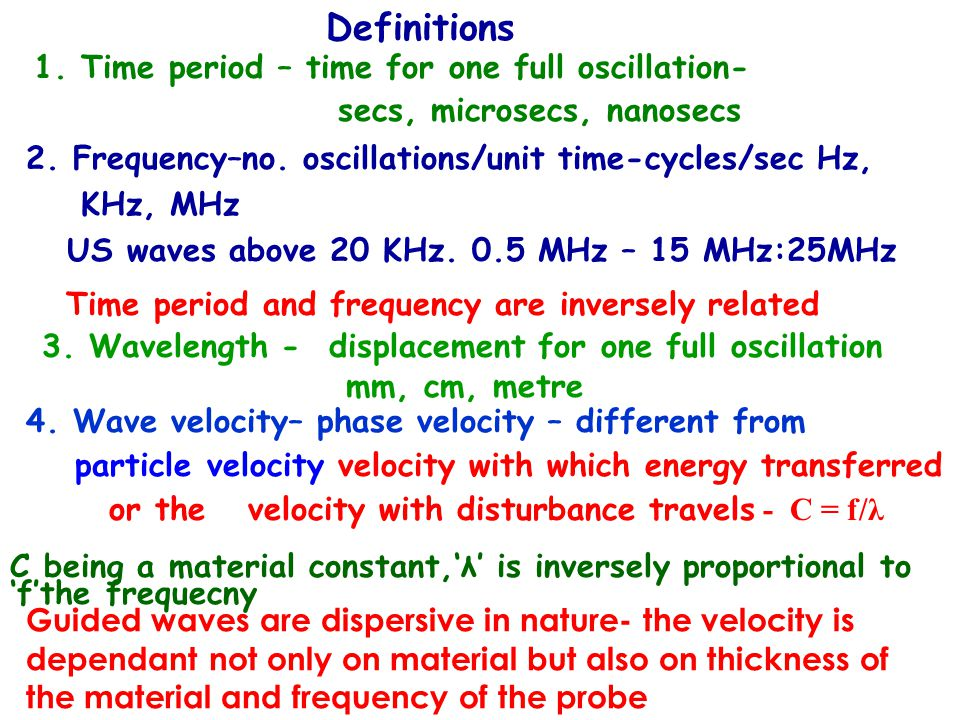 Wave velocity (contd) Wave velocity is a material property determined by density, Youngs Modulud and Poisssons' ratio Wavelength contd The ultrasonic wave interaction with obstacles or interfaces is determined by the relative sizes of the obstacle and wavelength Defect detecability in UT = wavelength / 2 Anything below this cannot be detected - why