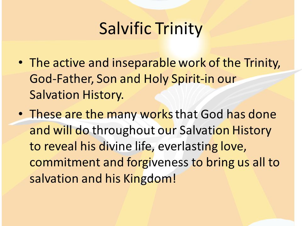 Divine Mission of the Holy Trinity Creation, Salvation and sanctification are all considered divine missions of the Holy Trinity.