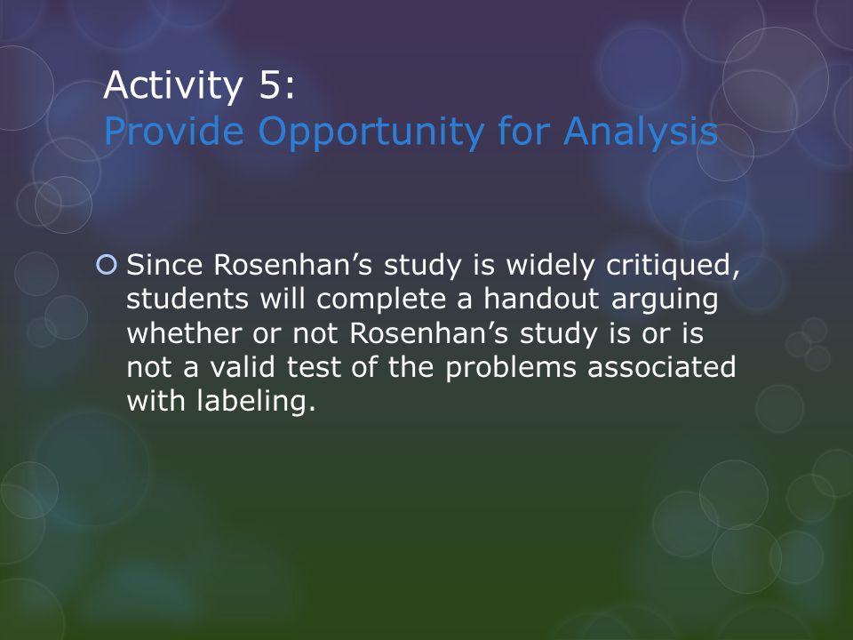 Advanced Organizer ArgumentsRosenhanSpitzer Hypothesis Scientific Evidence Results
