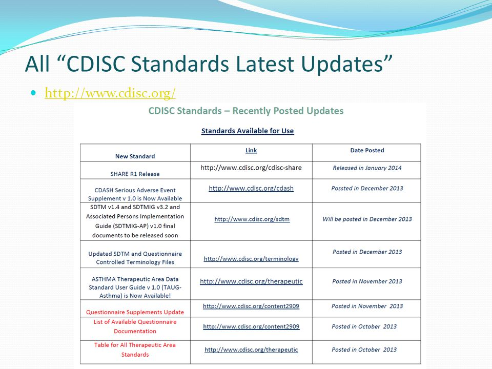 """All """"CDISC Standards Latest Updates"""" http://www.cdisc.org/ 11"""