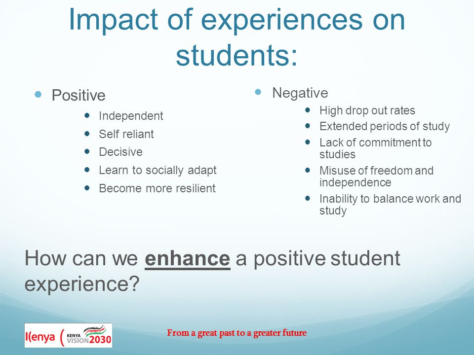 From a great past to a greater future Impact of experiences on students: Positive Independent Self reliant Decisive Learn to socially adapt Become more resilient Negative High drop out rates Extended periods of study Lack of commitment to studies Misuse of freedom and independence Inability to balance work and study How can we enhance a positive student experience