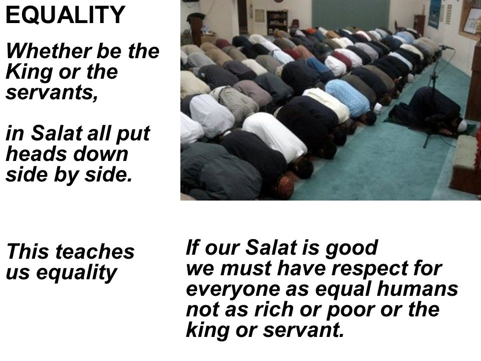 Whether be the King or the servants, in Salat all put heads down side by side.