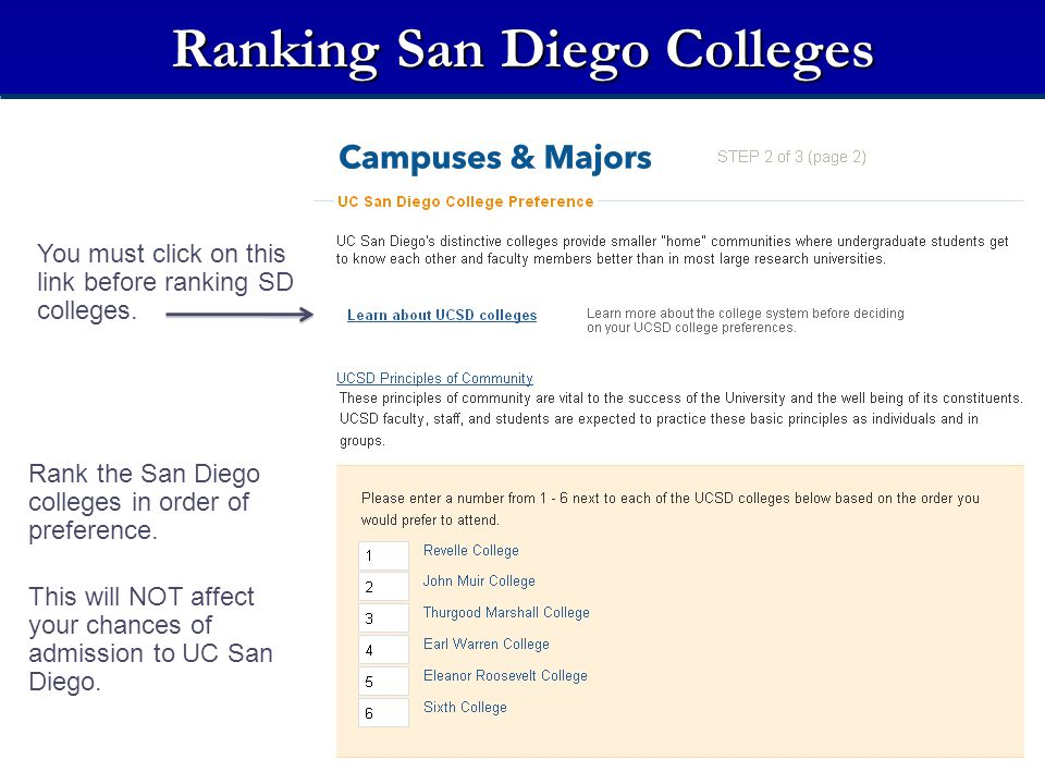 Ranking San Diego Colleges Rank the San Diego colleges in order of preference. This will NOT affect your chances of admission to UC San Diego. You mus