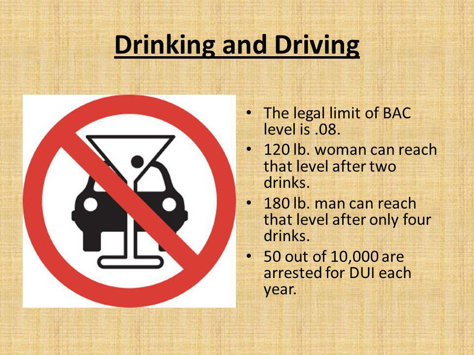 Drinking and Driving The legal limit of BAC level is.08.
