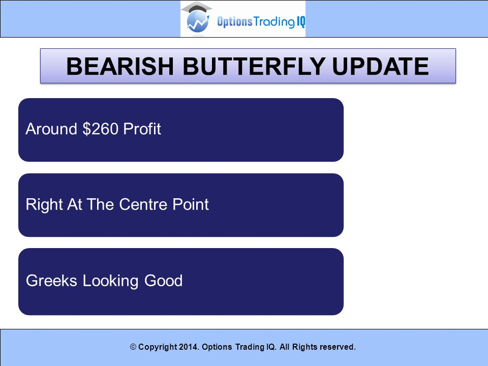 14 © Copyright 2014. Options Trading IQ. All Rights reserved. BEARISH BUTTERFLY UPDATE Around $260 ProfitRight At The Centre Point Greeks Looking Good