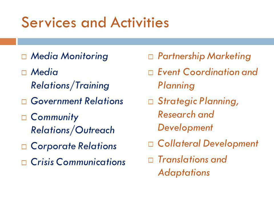 SWOT Analysis Emergence of freelance PR agents Competition: database marketing companies, system integrators Internet market expansion Increasing demand for research Importance of Language in business ventures Few Internet enterprises Not Targeting of South/Central Asian markets Restricted number of headquarters Community involvement and building Multitasking Diversity S W TO