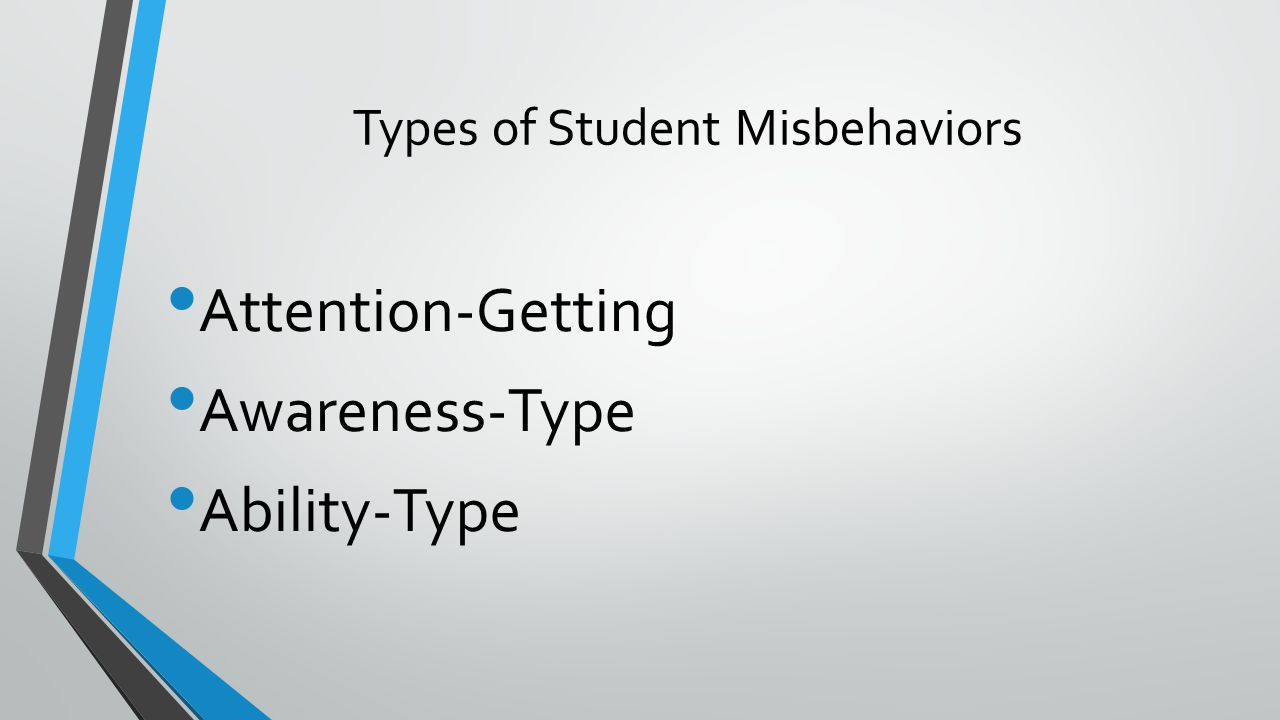 Types of Student Misbehaviors Attention-Getting Awareness-Type Ability-Type
