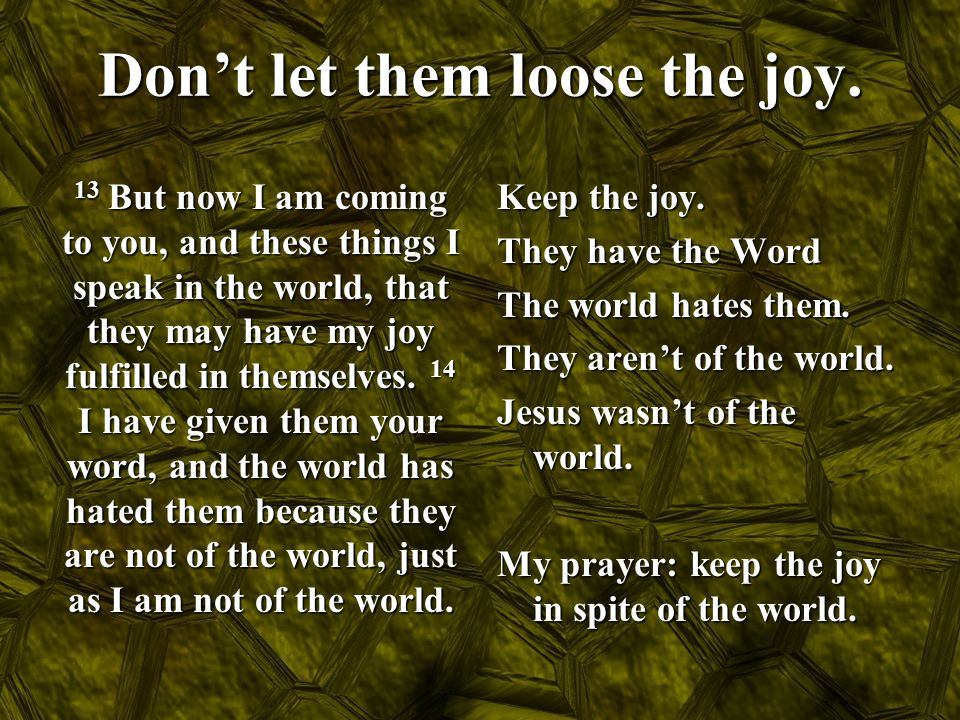 Don't let them loose the joy. 13 But now I am coming to you, and these things I speak in the world, that they may have my joy fulfilled in themselves.