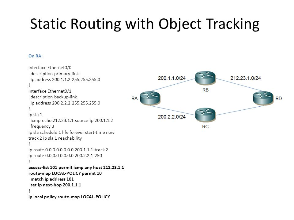 HSRP with Object Tracking On RA (Active Router): ip sla 1 icmp-echo 4.2.2.2 frequency 3 ip sla schedule 1 life forever start-time now .